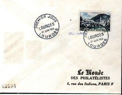 LETTRE 1ER JOUR FRANCE 1954 - LA BASILIQUE DE LOURDES - SIGNATURE DU GRAVEUR RENE COTTET - - Christendom