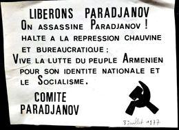 ARMENIE   POLITIQUE TRACT PROSPECTUS  COMITE PARADJANOV CONTRE L'EMPRISONNEMENT  ANNEE 1977 AUTOCOLLANT ANCIEN - Armenien