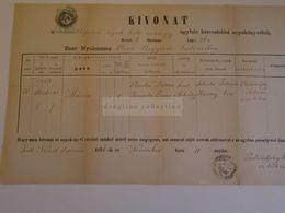 D172654 Old Document -Slovakia  Németlipcse - Partizánska Ľupča, - Nemecká  - Maria Plauka (1854)  Philadelphy Mór 1876 - Nacimiento & Bautizo
