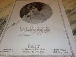 ANCIENNE PUBLICITE LES CREATIONS TECLA 1925 - Bijoux & Horlogerie