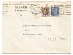 GANDON 15FR BLEU + 3FR BLASON LETTRE MULHOUSE GARE 24.11.1951 HAUT RHIN POUR BALE SUISSE TARIF FRONTALIER - 1945-54 Maríanne De Gandon
