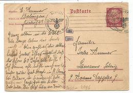 ENTIER 15C REICH POSTKARTE BALINGEN 1940 TO SUISSE CENSURE NAZI - Germany