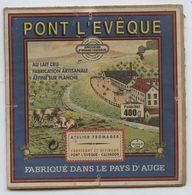 Etiquette Fromage En Bois Carrée, Pont L'Evêque, Fromagerie Le Père Eugène, Graindorge, Non Marqué Sur Le Couvercle - Cheese