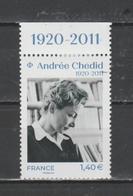 FRANCE / 2020 / Y&T N° 5388 ** : Andrée Chédid X 1 BdF Haut - Nuevos