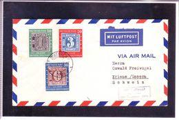 Lettre Deutsche Post - Par Avion - Centenaire Des Timbres Allemands 1949 - Covers & Documents