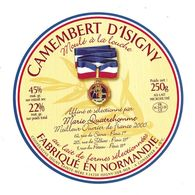 ETIQUETTE De FROMAGE..CAMEMBERT D'ISIGNY Fabriqué En NORMANDIE.. Sélectionné Par Marie QUATREHOMME à PARIS - Cheese