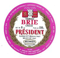 ETIQUETTE De FROMAGE..FROMAGE BRIE.. PRESIDENT..BESNIER NORMANDIE - Cheese