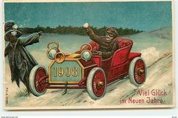 N°14330 - Carte Gaufrée - Viel Glück Im Neuen Jahre 1908 - Homme Dans Une Voiture Lançant Des Boules De Neige - Año Nuevo