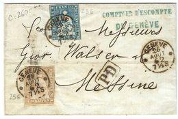 SUISSE 1862: LSC De Genève Pour Messine (Italie) Affranchie à 30r Avec Les ZNr.23G Et 25G, Obl. CAD  Forte Cote - Storia Postale