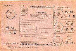 C11 1932 Poste Rurale Automobile  Bulletin De Commande Neuf 25 A 50 KG - Marcophilie (Lettres)