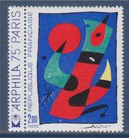 ARPHILA 75 Oeuvre D'Art Tableau De Miro Avec Vignette Arphila 75 à Gauche N° 1811 Neuf - Unused Stamps