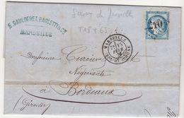 Bouches Du Rhône LAC Savons De Marseille Gaulofret & Cie  N°60/GC + T18  1876 (2 Scans) - Marcophilie (Lettres)