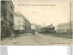 44 NANTES. Passage Du Train De Bretagne Quai Brancas Et Tramway électrique 1918 - Nantes