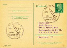 Germany DDR Postal Stationery Postcard Dresden 28-10-1962  Briefmarken Ausstellung Special Postmark With Rocket - Postkarten - Gebraucht