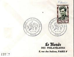LETTRE 1ER JOUR FRANCE 1957 - ROBERT KELLER, HEROS DE LA RESISTANCE - SIGNEE PAR LE GRAVEUR PIERRE MEUNIER - - WO2