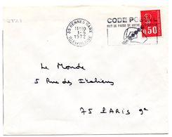 ILLE & VILAINE - Dépt N° 35 = RENNES GARE 1972 =  FLAMME à DROITE =  SECAP Illustrée ' CODE POSTAL / Mot Passe' - Postleitzahl