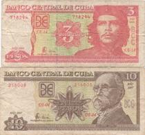 Banco Central De Cuba : 3 Pesos 2004 + 10 Pesos 2007 (mauvais état) - Cuba