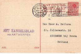 23 X 1930 Mach. Stempel ANTWERPEN ( Wereldtentoonstelling 1930) Op Antw. Bk  G212 Z-1 Naar Ginneken - Interi Postali