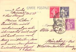 Card Strassburg - Nürnberg 1930 - Francia