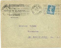 ILLE & VILAINE - Dépt N° 35 = RENNES GARE 1925 = FLAMME  KRAG  ' EXPOSITION ARTS DECORATIFS MODERNES PARIS ' - Marcophilie (Lettres)