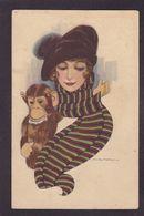 CPA Nanni Femme Girl Women Illustrateur Italie Circulé Mode Chapeau Singe - Nanni