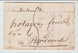 GERS: 31 / MIRANDE Linéaire 36 X 10 M/m + TM 5 / LAC De 1828 Pour Bordeaux - Marcophilie (Lettres)