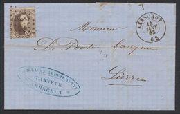 """Médaillon Dentelé - N°14 Sur LAC Obl Pt 2 """"Aerschot"""" (1865) + Cachet Privé """"Tanneur"""" > Lierre - 1863-1864 Medaillons (13/16)"""