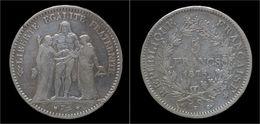 France 5 Francs 1875K- Hercules - J. 5 Francs