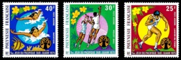 POLYNESIE 1975 - Yv. PA 93 94 Et 95 **   Cote= 24,00 EUR - Sport: Natation, Volley, Lancer (3 Val.)  ..Réf.POL25169 - Poste Aérienne
