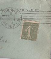 Yvert 130 Piquage à Cheval Semeuse Lignée Lettre Facture Maurice Keene Vins Cachet PARIS GARE DE PLM 1919 à Albas Lot - Postmark Collection (Covers)