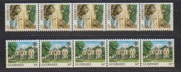 Guernsey 1988 Definitives Views Coil Stamps 2v Strip Of 5 ** Mnh (48744) - Guernsey