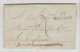 GERS: 31 / NOGARO 28 X 11 M/m + TM 2 / LAC De 1823 Pour Vic Fezensac - Marcophilie (Lettres)