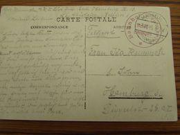 Carte Postale De FRAMERIES (hôtel Communal). Oblitération à Pont De MAUBEUGE (frankreich) Et Bahnhof FRAMERIES - Storia Postale