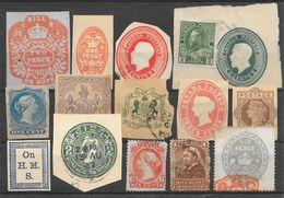 Canada Découpes D'entiers Postaux & Timbres Fiscaux Lot De 14 Objets 1877-193x - Ohne Zuordnung