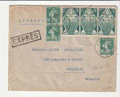 Pas Courant Lettre Bandol / Var->Bruxelles / Belgique Par EXPRES Avec Arts Décoratifs N°211 Multiples, 1925 - Francia