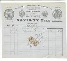 FACTURE 1905 CAFE DE CHARTRES SAVIGNY CAFES TORREFIES PAR MACHINE A VAPEUR - France