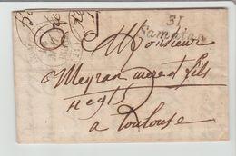 GERS: Cursive SAMATAN + CàD 12 LOMBES + TM 3 / LAC 1836 Pour Toulouse - Marcophilie (Lettres)