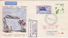 Vol Expérimental Cook Is. - Wallis, Obl. Rarotonga Le 15 AU 67 + Cachet Spécial Et Signature - Cook Islands