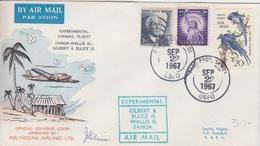 Vol Expérimental Samoa-Wallis Gilbert-Ellice, Obl. Pago Pago Le 22 SP 67 + Cachet Spécial Et Signature - Samoa Américaine