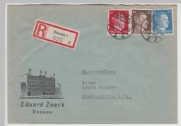 (B826) Bedarfsbrief DR, R-Brief, Fa. Eduard Zeeck, Dessau, 1943 - Brieven En Documenten