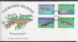 FALKLAND ISLANDS - 1996- BEAKED WHALES SET OF 4  ON   ILLUSTRATED FDC - Falkland
