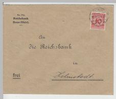 (B2230) Bedarfsbrief Deutsches Reich INFLA, Reichsbank Bonn 1923 - Germania