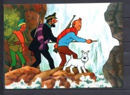 Tintin Et Le Temple Du Soleil - Tintin, Haddock Et Zorrino Franchissant La Chute D'eau - Editions Yvon N° 19 - Bandes Dessinées