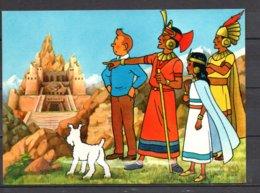 Tintin Et Le Temple Du Soleil - Tintin Avec L'Inca Et Maita Devant Le Temple - Editions Yvon N° 18 - Bandes Dessinées