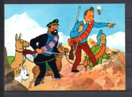 Tintin Et Le Temple Du Soleil - Tintin , Haddock Et Zorrino Avec Les Lamas - Editions Yvon N° 15 - Bandes Dessinées