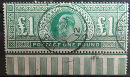 Gran Bretaña: Año. 1902 -1913  1/GBP. Verde - ( Rey Eduardo VII ) Dent. 14 - Oblitérés