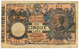 5 LIRE FALSO D'EPOCA BIGLIETTO DI STATO VITTORIO EM. III FLOREALE 08/11/1904 BB - [ 1] …-1946 : Royaume