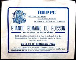76 DIEPPE GRANDE SEMAINE DU POISSON RARE PROSPECTUS EN PAPIER FIN DE 1929 POUR LA PROMOTION DE LA PECHE 14 X 11 Cm - Dieppe