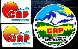 05 GAP 3 AUTOCOLLANTS DE PROMOTION POUR LA VILLE DE GAP   ETAT NEUF VERS 1980 - Gap
