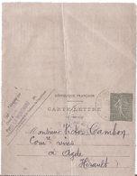 Carte-lettre 1918 /  / Cachet  F. FAISSAT VINS FAUX LA MONTAGNE (CREUSE) - 1900 – 1949